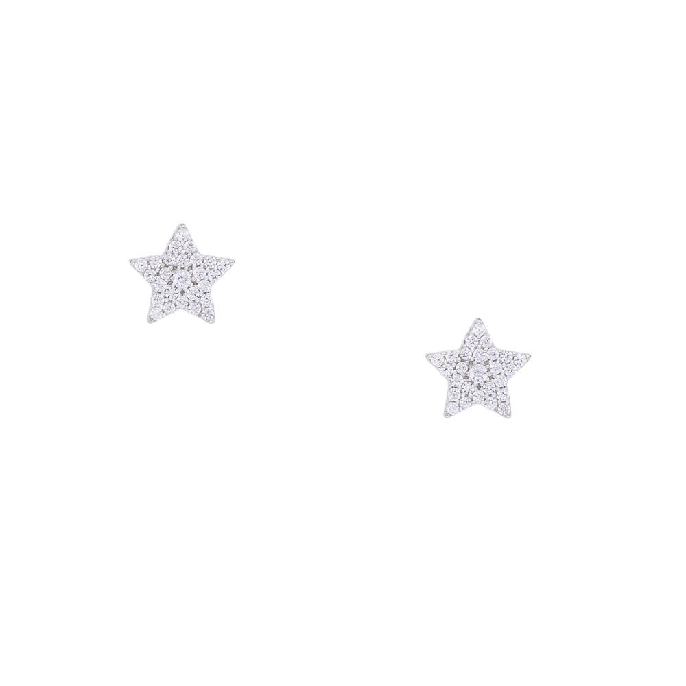 INAstyle Steckerohrring STINA - sternförmiger, filigraner Ohrschmuck aus 925er-Silber und Zirkonia Steinen