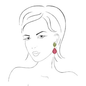 INAstyle Steckerohrring SUPERLA pink grün an Frauen-Skizze