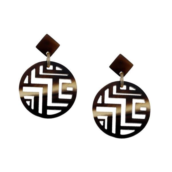 INAstyle I Steckerohrring Minh in Dunkelbraun aus hochwertigem Büffelhorn mit Labyrinth-Muster!