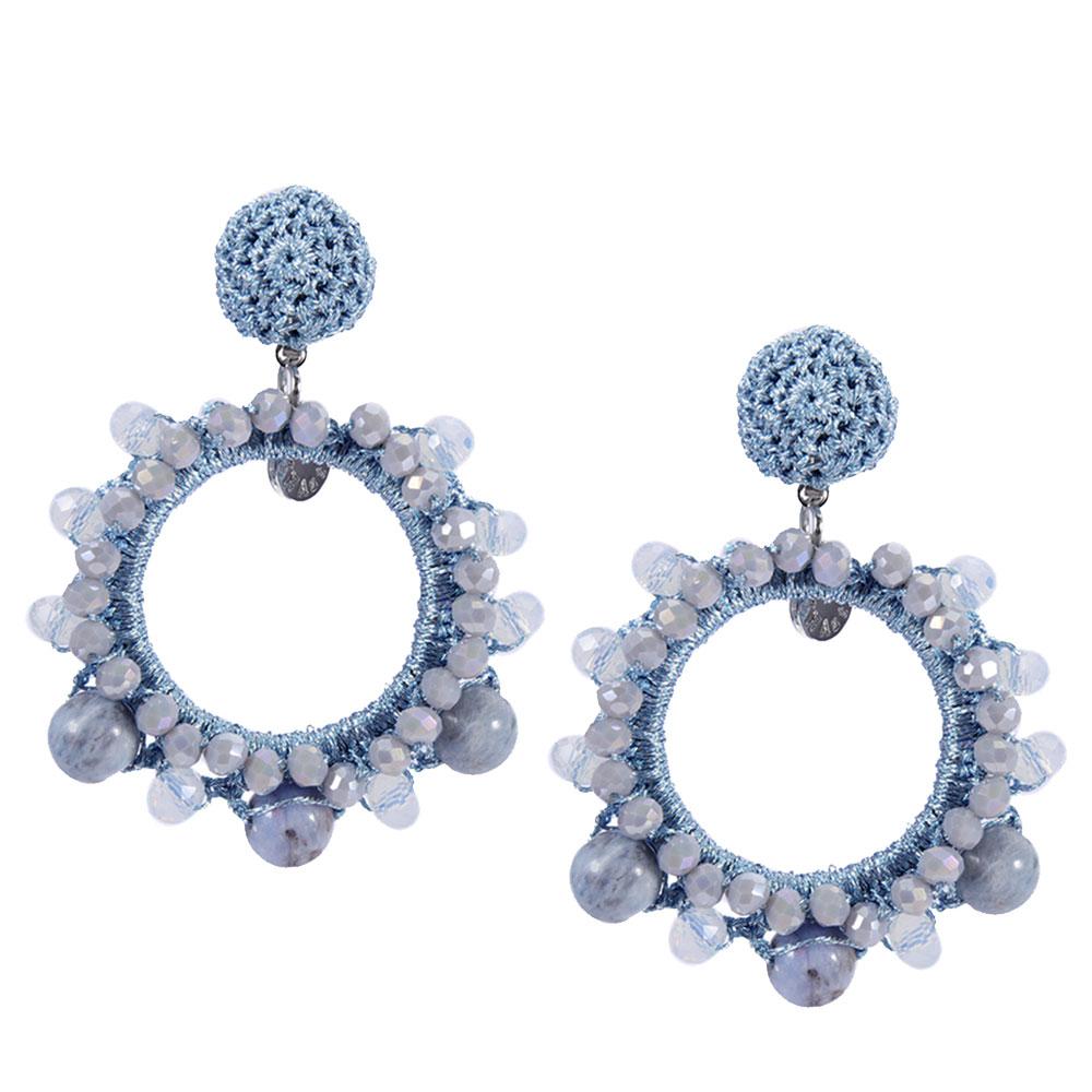 INAstyle I Steckerohrring Mira in Hellblau mit Glaskristallen und Perlen!