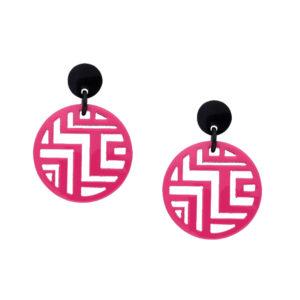 INAstyle I Runder Steckerohrring Tinh in Pink und Schwarz aus Büffelhorn mit Stecker aus rhodiniertem Messing und Anhänger mit Labyrinth-Cut-Outs!