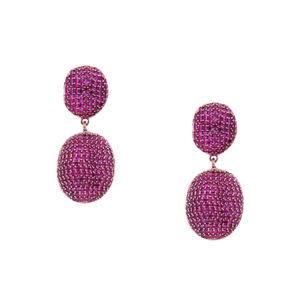 INAstyle I Funkelnder Steckerohrring Chantal in Pink mit vielen kleinen Zirkonia Steinen!