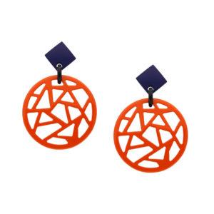 INAstyle I Steckerohrring Melo in Orange und Blau aus hochwertigem, lackierten Büffelhorn!