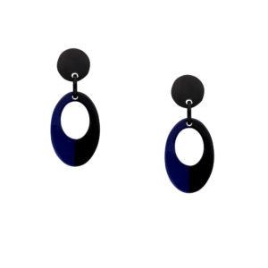INAstyle I Steckerohrring Otella in Schwarz und Blau aus rundum lackierten Büffelhorn!