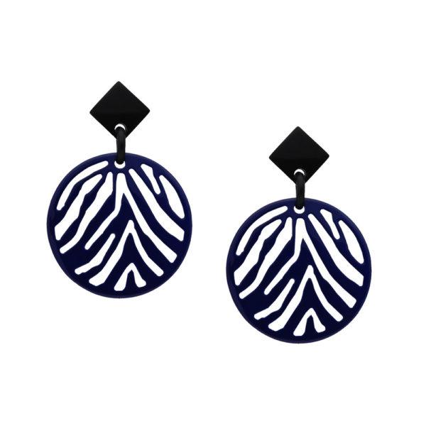 INAstyle I Steckerohrring Silja in Blau und Schwarz aus Büffelhorn mit Zebrastreifen-Muster!