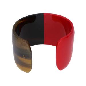 INAstyle I Armspange Brace in Rot und Braun aus Büffelhorn, teilweise lackiert!