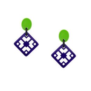 INAstyle I Steckerohrring Chula in Lila und Hellgrün aus hochwertigem und lackiertem Büffelhorn!