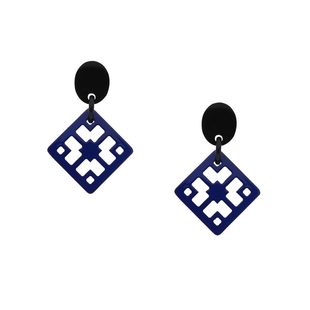 INAstyle I Steckerohrring Chula in Blau und Schwarz aus lackiertem Büffelhorn!