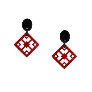 INAstyle I Steckerohrring Chula in Rot und Schwarz aus rundum lackiertem Büffelhorn!