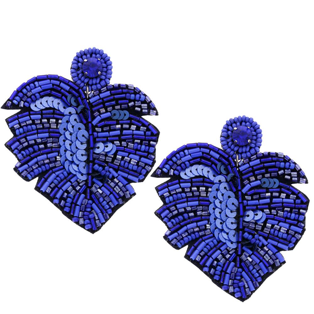 INAstyle I Steckerohrring Exotica in Blau mit Tropenblatt-Design!