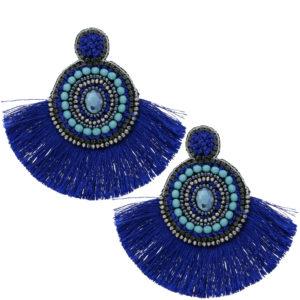 INAstyle I Steckerohrring Flamenca in Blau mit großem Fächer aus Viskose-Fäden!