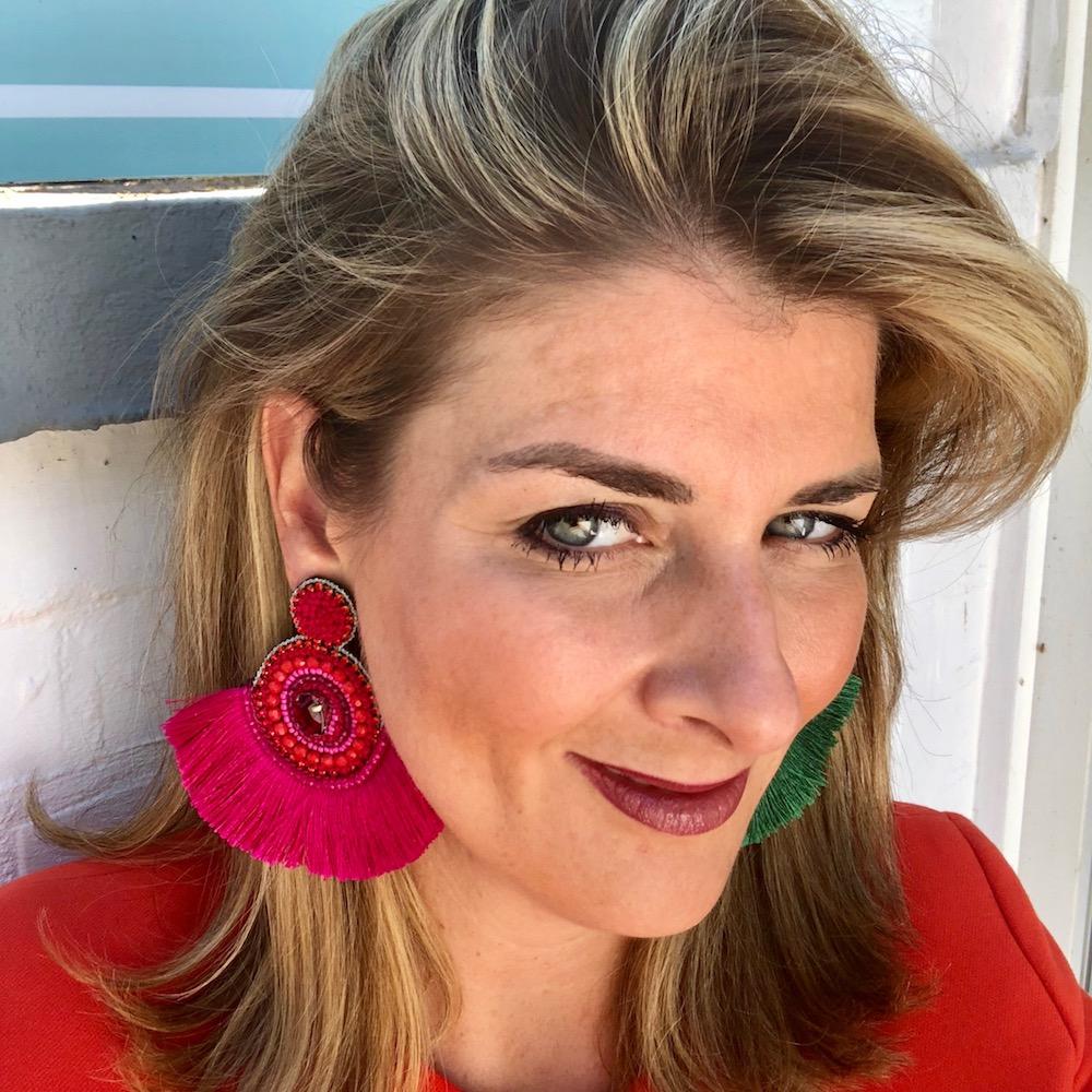 INAstyle I Steckerohrring Flamenca in Pink mit großem Fächer aus Viskose-Fäden!