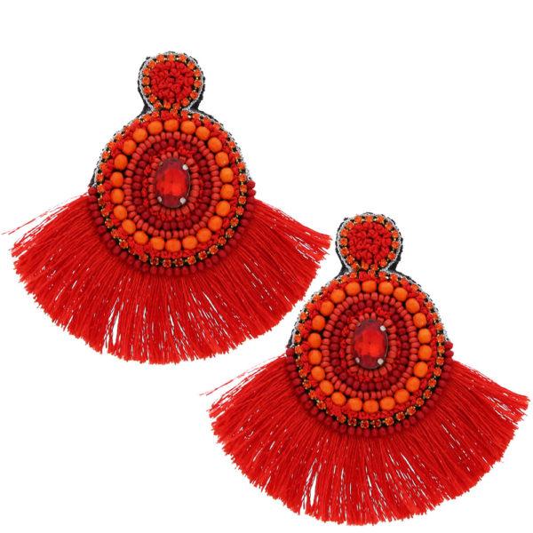 INAstyle I Steckerohrring Flamenca in Orange mit großem Fächer aus Viskose-Fäden!
