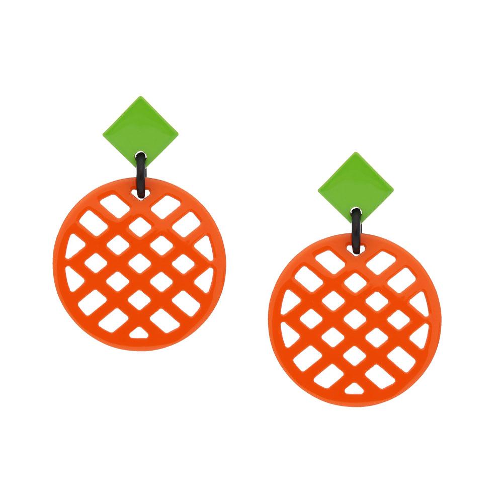 INAstyle I Steckerohrring Jardina in Orange und Hellgrün aus doppelseitig lackiertem Büffelhorn!