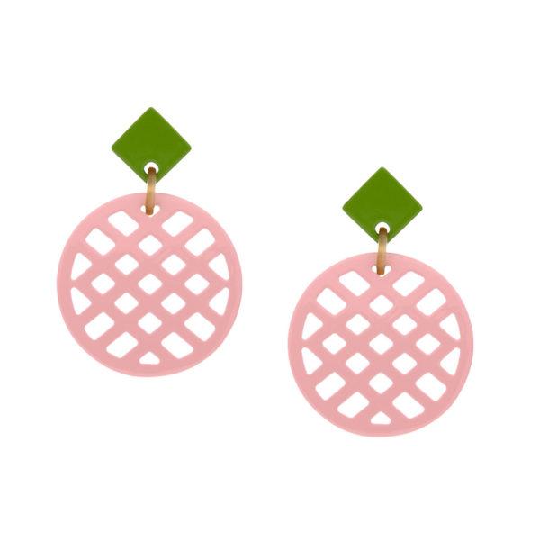 INAstyle I Steckerohrring Jardina in Rosa und Hellgrün aus beidseitig lackiertem, hochwertigen Büffelhorn!