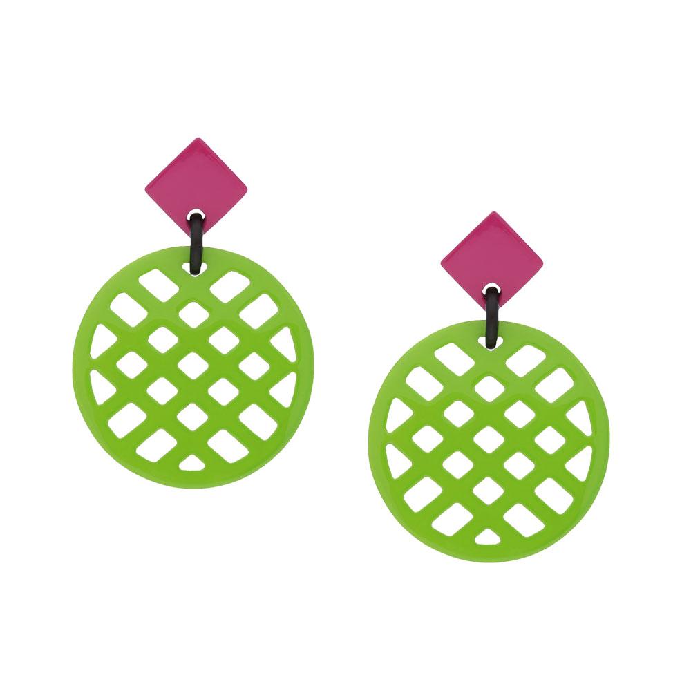 INAstyle I Steckerohrring Jardina in Hellgrün und pink aus lackiertem Büffelhorn!
