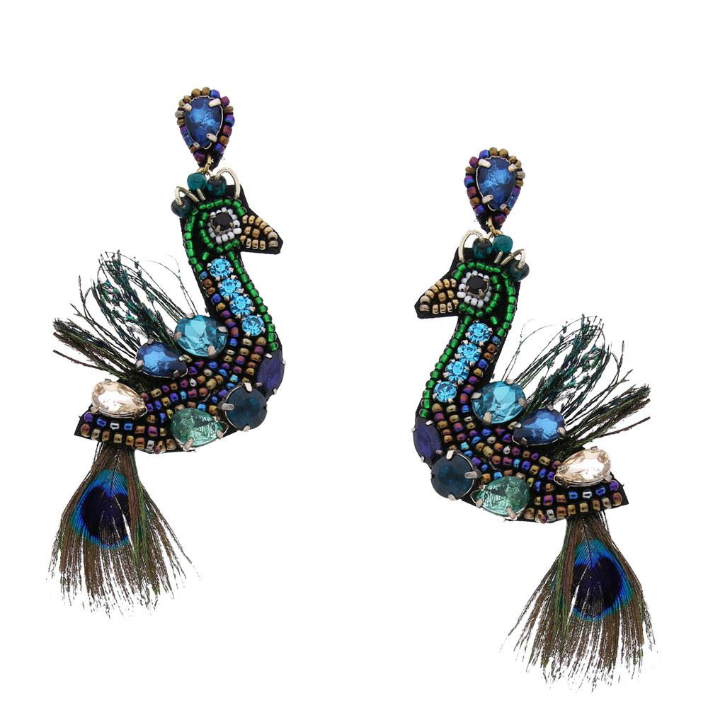 INAstyle I Steckerohrring Peacock in Form eines Pfaus mit Feder, Glaskristall und Perlen!