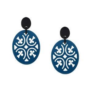 INAstyle I Steckerohrring Pik in Blau und Schwarz mit Kreuz-Design aus hochwertigem, beidseitig lackiertem Büffelhorn!