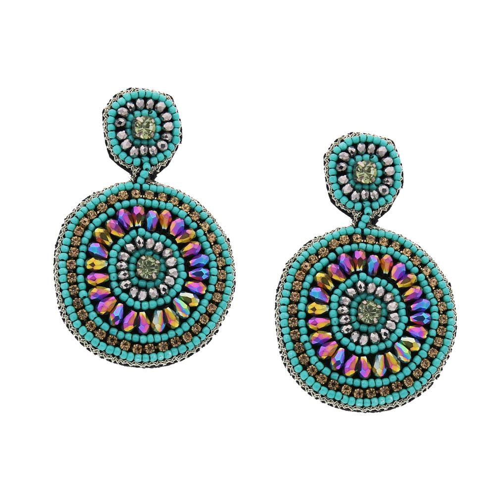 INAstyle I Steckerohrring Rondana in Türkis mit Glaskristallen und vielen kleinen, kreisförmig angeordneten Perlen!