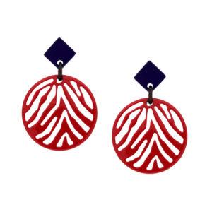 INAstyle I Steckerohrring Silja in Rot und Lila aus lackeirtem Büffelhorn mit Zebrastreifen-Anhänger!