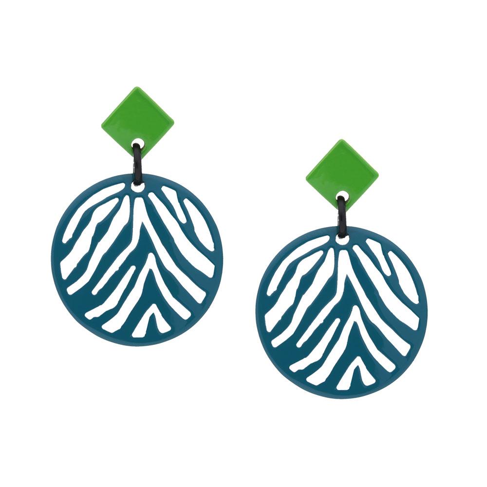 INAstyle I Steckerohrring Silja in Türkis und Grün aus doppelseitig lackiertem Büffelhorn mit Zebrastreifen-Muster!