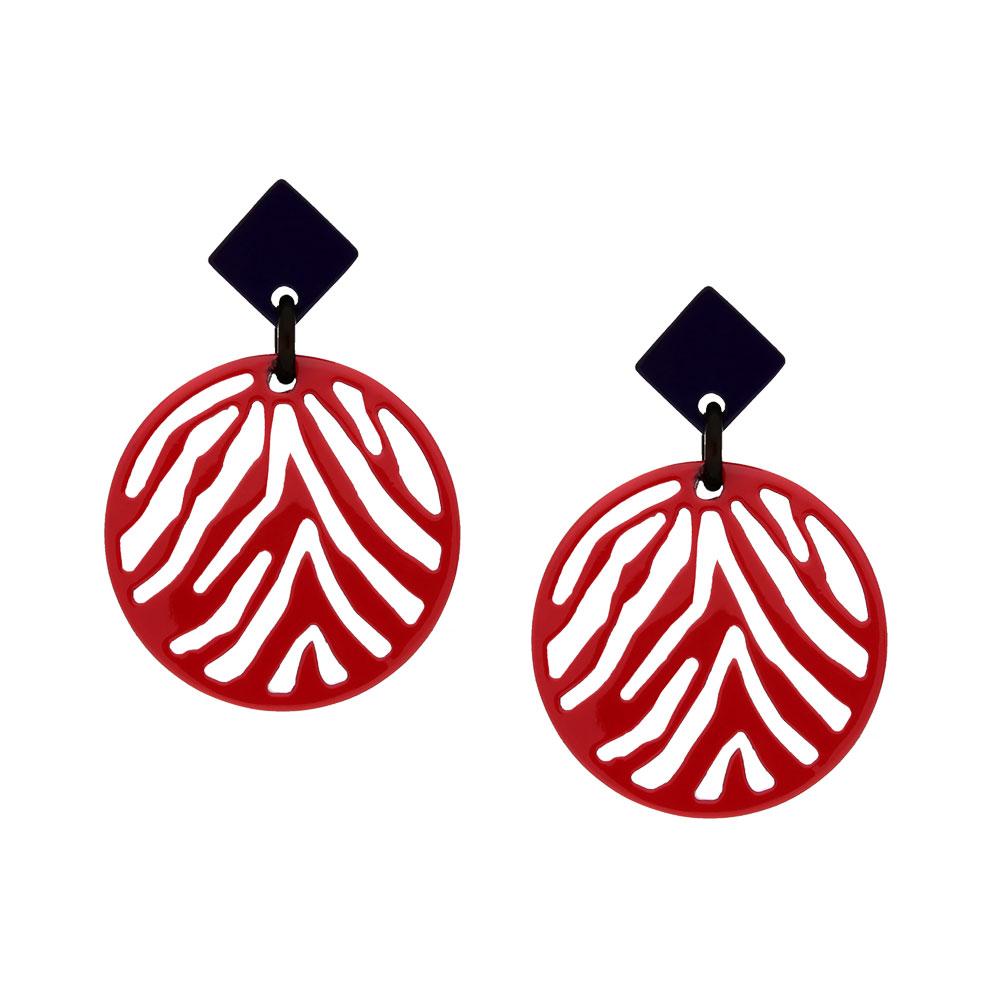 INAstyle I Steckerohrring Silja in Rot und Schwarz aus beidseitig lackiertem Büffelhorn mit Zebrastreifen-Anhänger!