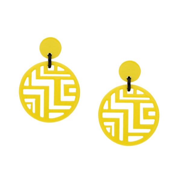 INAstyle I Steckerohrring Tinh in Gelb mit schwarzem Detail aus beidseitig lackiertem Büffelhorn!
