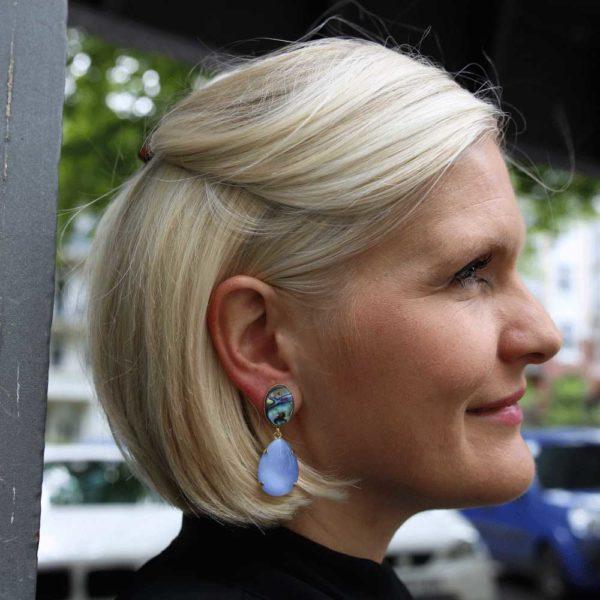 INAstyle I Perlmutt-Ohrringe SUPERLA in Blau, Lila und Grün!