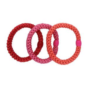 INAstyle I Haargummi-Set in Rottönen in den Farben Pink, Rot und Apricot!