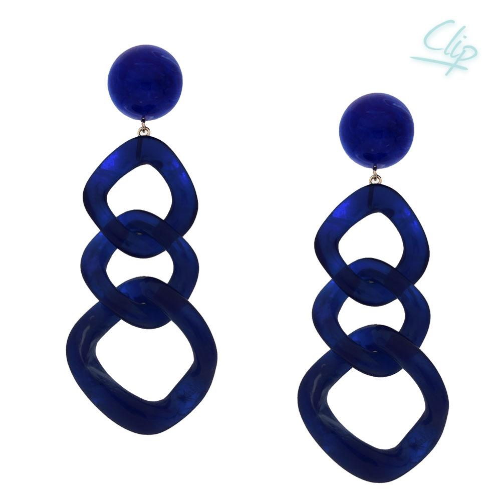 INAstyle I Ohrclip Cara in Blau aus Resin mit Kettenglieder-Optik!