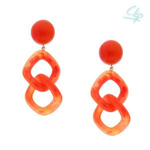 INAstyle I Ohrclip Carla in Orange aus hochwertigem Resin mit Kettenglieder-Optik!