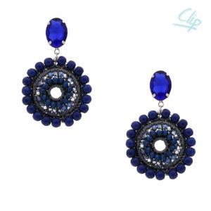 INAstyle I Ohrclip Mandalay in Blau mit Glaskristallen und Türkisen!