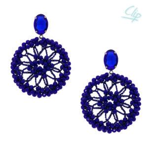 INAstyle I Ohrclip Spectacio in Blau mit vielen Glaskristallen und einem schimmernden Lamé-Garn!