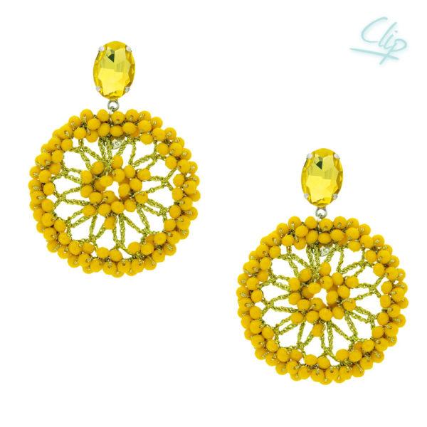 INAstyle I Ohrclip Spectacio in Gelb mit vielen Glaskristallen und einem glänzenden Lamé-Garn!