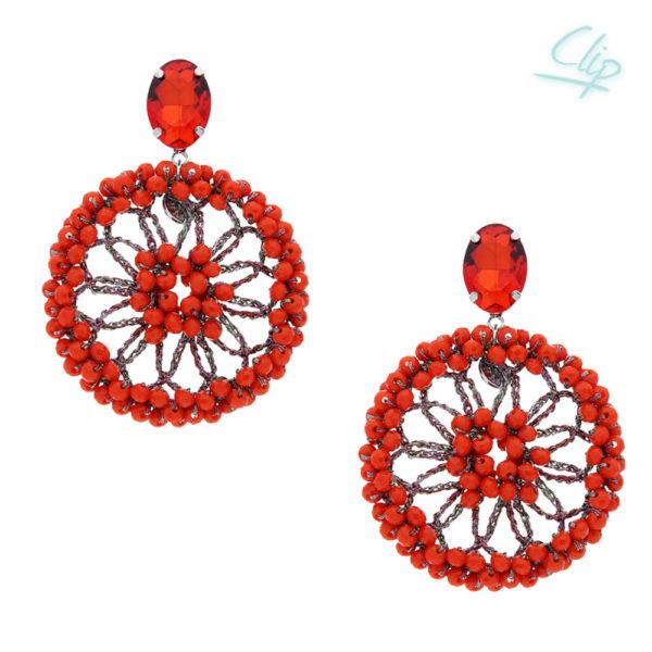 INAstyle I Ohrclip Spectacio in Orange mit Glaskristallen und einem schimmernden Lamé-Garn!