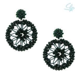 INAstyle I Ohrclip Spectra in Grün mit großem runden Anhänger und vielen kleinen Glaskristallen!