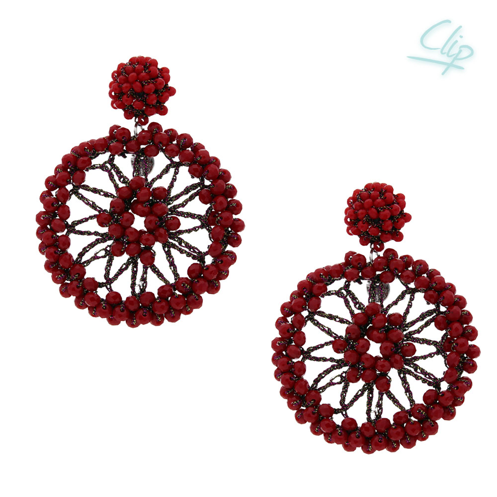 INAstyle I Ohrclip Spectra in Rot mit vielen kleinen Glaskristallen und einem glänzenden Lamé-Garn!