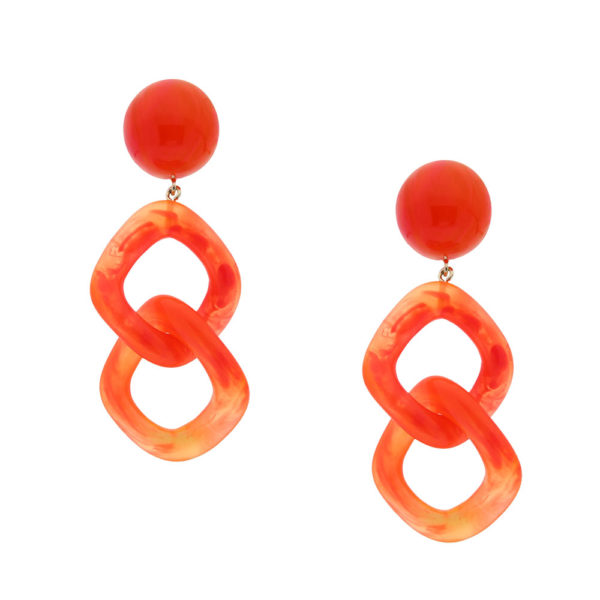 INAstyle I Steckerohrring Carla in Orange aus Resin mit Kettenglieder-Optik!