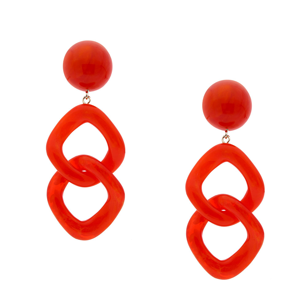 INAstyle I Steckerohrring Carla in Rot aus Resin mit Anhänger in Kettenglieder-Optik!