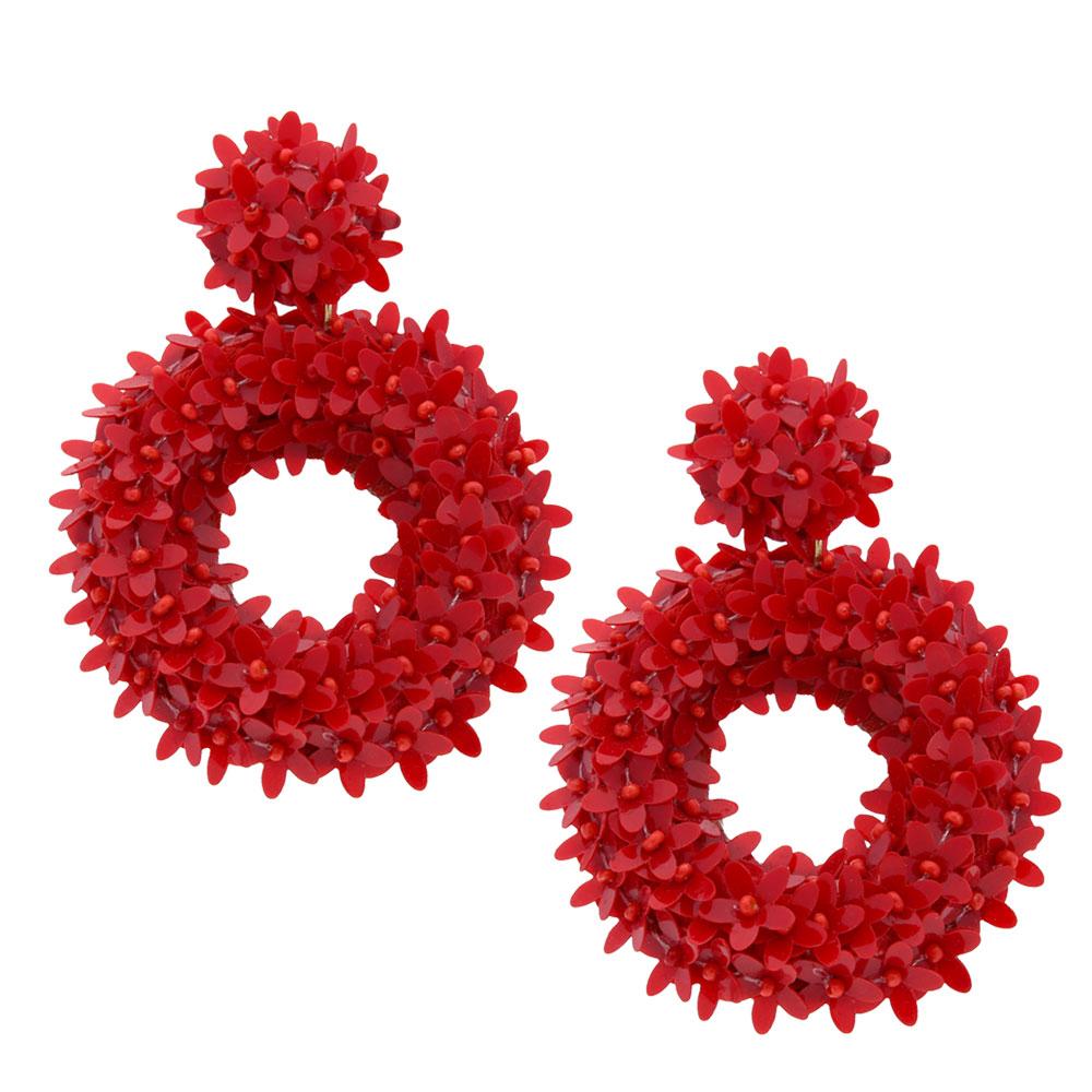 INAstyle I Großer Steckerohrring Glitta in Rot mit rundem Anhänger und vielen kleinen Blüten!