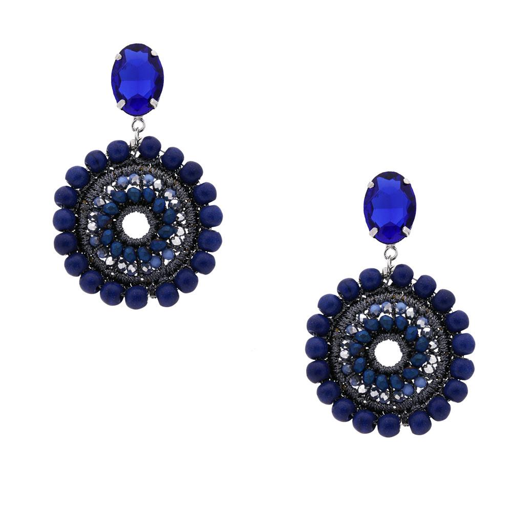INAstyle I Steckerohrring Mandalay in Blau mit Glaskristallen und Türkisen!