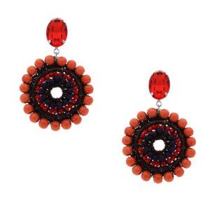 INAstyle I Steckerohrring Mandalay in Orange mit runden Türkisen, Lamé-Garn und Glaskristallen!