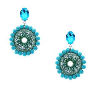 INAstyle I Steckerohrring Mandalay in Türkis mit großem und kleinen Glaskristallen sowie einem glänzenden Lamé-Garn!
