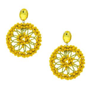 INAstyle I Steckerohrring Spectacio in Gelb mit großem, runden Anhänger, Glaskristallen und Lamé-Garn!