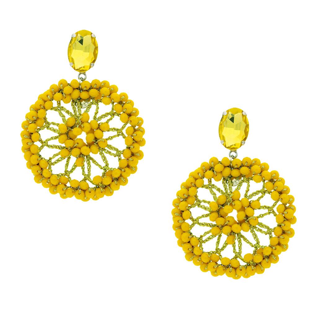INAstyle I Steckerohrring Spectacio in Gelb mit großen, runden Anhänger, Glaskristallen und Lamé-Garn!