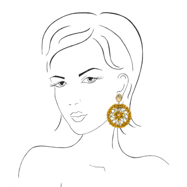 INAstyle I Ohrclip Spectacio in Gelb an einer Frauenskizze!
