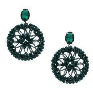 INAstyle I Steckerohrring Spectacio in Grün mit rundem Anhänger, großen und kleinen Glaskristallen und einem Lamé-Garn!