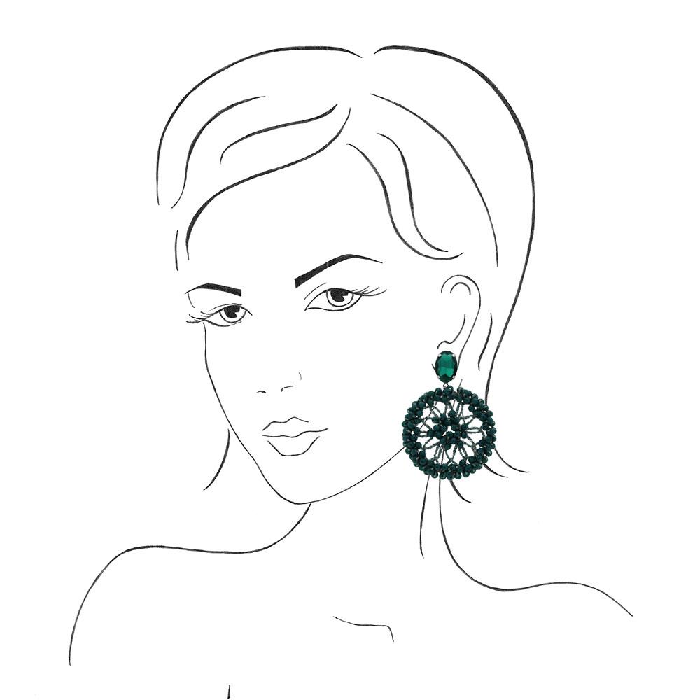 INAstyle I Steckerohrring Spectacio in Grün an einer Frauenskizze!