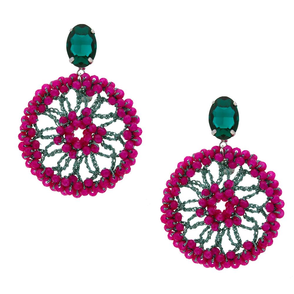 INAstyle I Steckerohrring Spectacio in Fuchsia mit großem und vielen kleinen Glaskristallen sowie einem glänzenden Lamé-Garn!