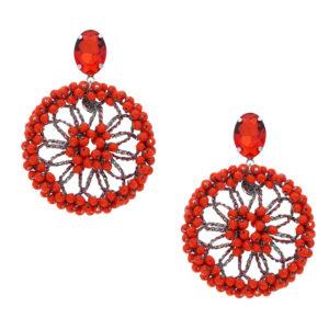 INAstyle I Steckerohrring Spectacio in Orange mit großem Anhänger, Lamé-Garn und vielen Glaskristallen!
